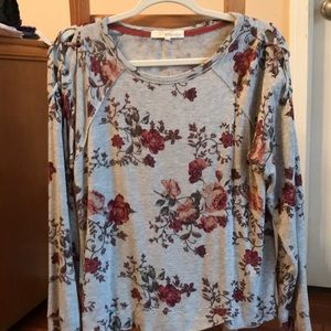Gray floral long sleeve thin sweater